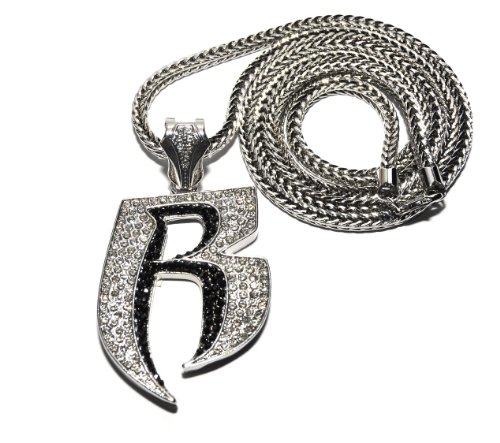 Crescendo SJ INC New Iced Out Ruff Ryders 'R' Pendant 4mm&36