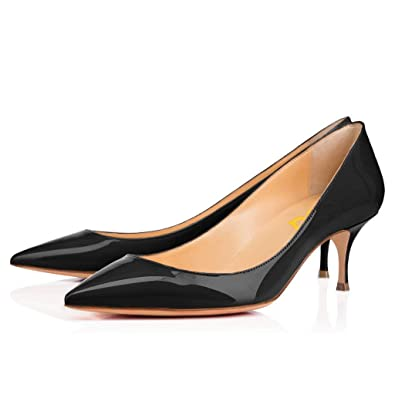 209a50d51ca FSJ Women Classic Kitten Heels Pointy Toe Pumps Office Ladies Dress Shoes  Size 4-15 US