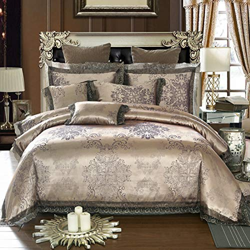 UniTendo 4 Piece Sateen Cotton Jacquard Duvet Cover Sets,Delicate Floral Pattern Bedding Sets,Duvet Cover Flat Sheet and 2 Pillowcases,Queen/Full Size, Dark Brown.
