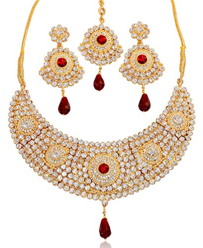 Touchstone Indian Bollywood White Faux Ruby Elaborate Bridal Jewelry hasli Necklace in Antique Gold Tone