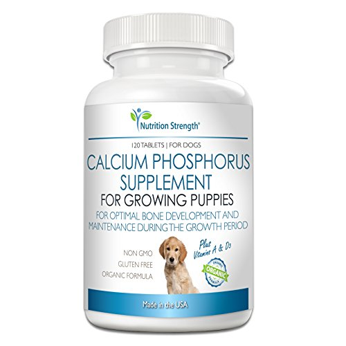 Nutrition Strength Calcium Phosphorus for Dogs Supplement, Formula for Healthy Dog Bones, Dog Bone Supplement, 120 Chewable Tablets