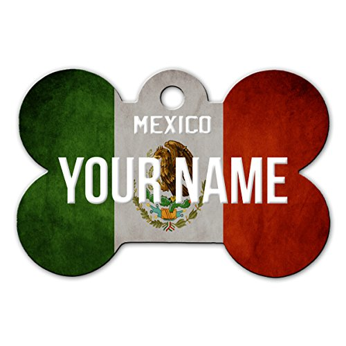 BleuReign(TM Personalized Custom Name Country License Mexico Plate Bone Shaped Metal Pet ID Tag with Contact Information