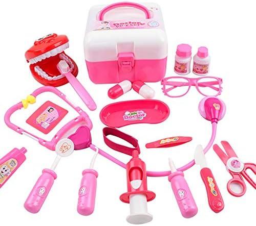 子ども おもちゃ お医者さんごっこ びょういん 知育玩具 おもちゃ ドクター 救急車 女の子 子供のお誕生日プレゼント クリスマス 贈り物 19ピース 想像力育ち ( Color : 粉 )