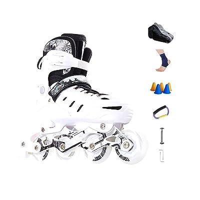 Sljj Outdoor Fun Adjustable Illuminating Beginner Inline Skates Combo, Children Fashion Sport Fitness Speed Roller Skates White (Color : C, Size : L (EU 39-EU 42)): Home & Kitchen