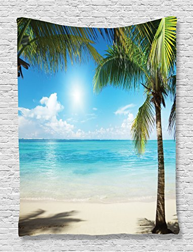 Tropical Beach Tapestry Decor by Ambesonne, Coconut Palms and Shadows on Beach Sea Plants Picture Pattern