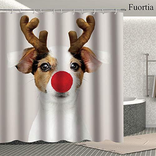 Fuortia Shower Curtain Modern Bath Curtain Dog Dressed up Deer Head Portrait 69 x 70 Inches, Gray and Blue Bathroom Curtain]()