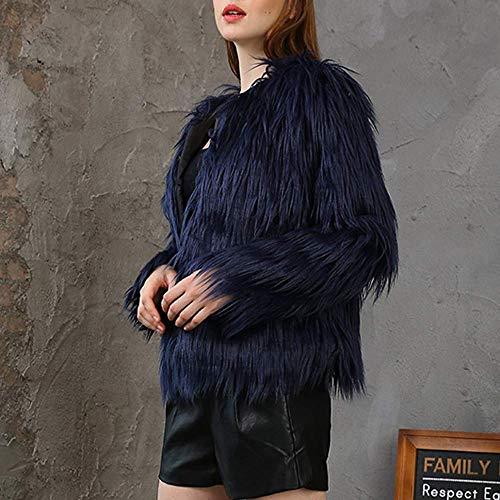 Cardigan taille L Parka foncé survêtement Zhrui Couleur Faux épais Casual manteau chaud bleu sur hiver veste femmes axwqZPR