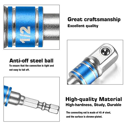 Impact Grade Socket Adapter/Extension Set Turns Power Drill Into High Speed Nut Driver,1/4-Inch Hex Shank to Drive for Adapters to Use with Drill Chucks, Sizes 1/4'' 3/8'' 1/2'', Cr-V, 3-Piece by Regatic (Image #5)