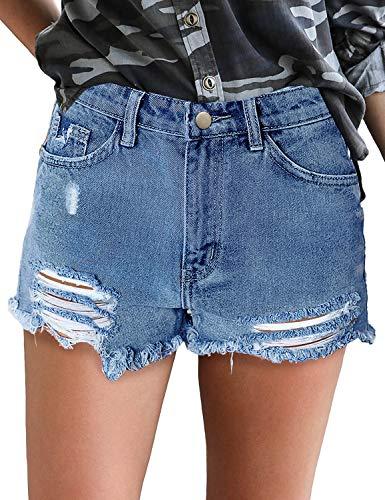 (luvamia Women's Ripped Denim Jean Shorts Mid Rise Stretchy Folded Hem Short Jeans Blue Size Small)