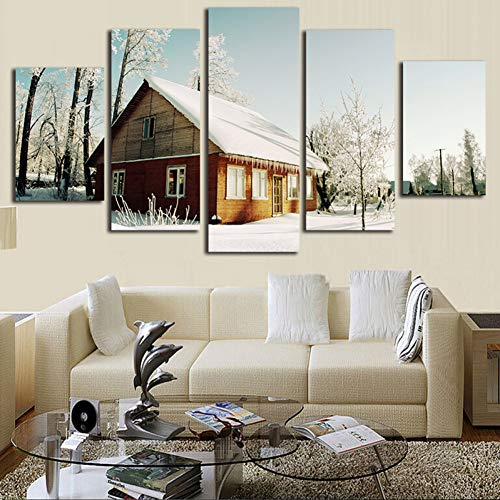- SHUII 5 Pcs Canvas Wall Art Snow House Figure Print Country Chalet Painting On Canvas for Home Decor Living Room Artwork Framed 30x40cm 30x60cm 30x80cm