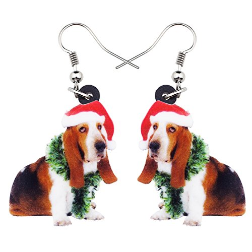 Basset Hound Christmas - NEWEI Acrylic Sweet Christmas Basset Hound Dog Earrings Drop Dangle Fashion Jewelry For Girl Women Gift Charms (muliticolor)