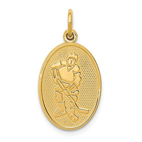 Ice Hockey Sports Charm (ICE CARATS 14k Yellow Gold Hockey Player Pendant Charm Necklace Sport Fine Jewelry Ideal Mothers Day Gifts For Mom Women Gift Set From Heart)
