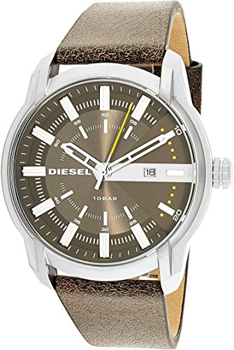 Diesel Men's Armbar Stainless Steel and Leather Casual Watch, Color: Silver-Tone, Brown (Model: DZ1782) -