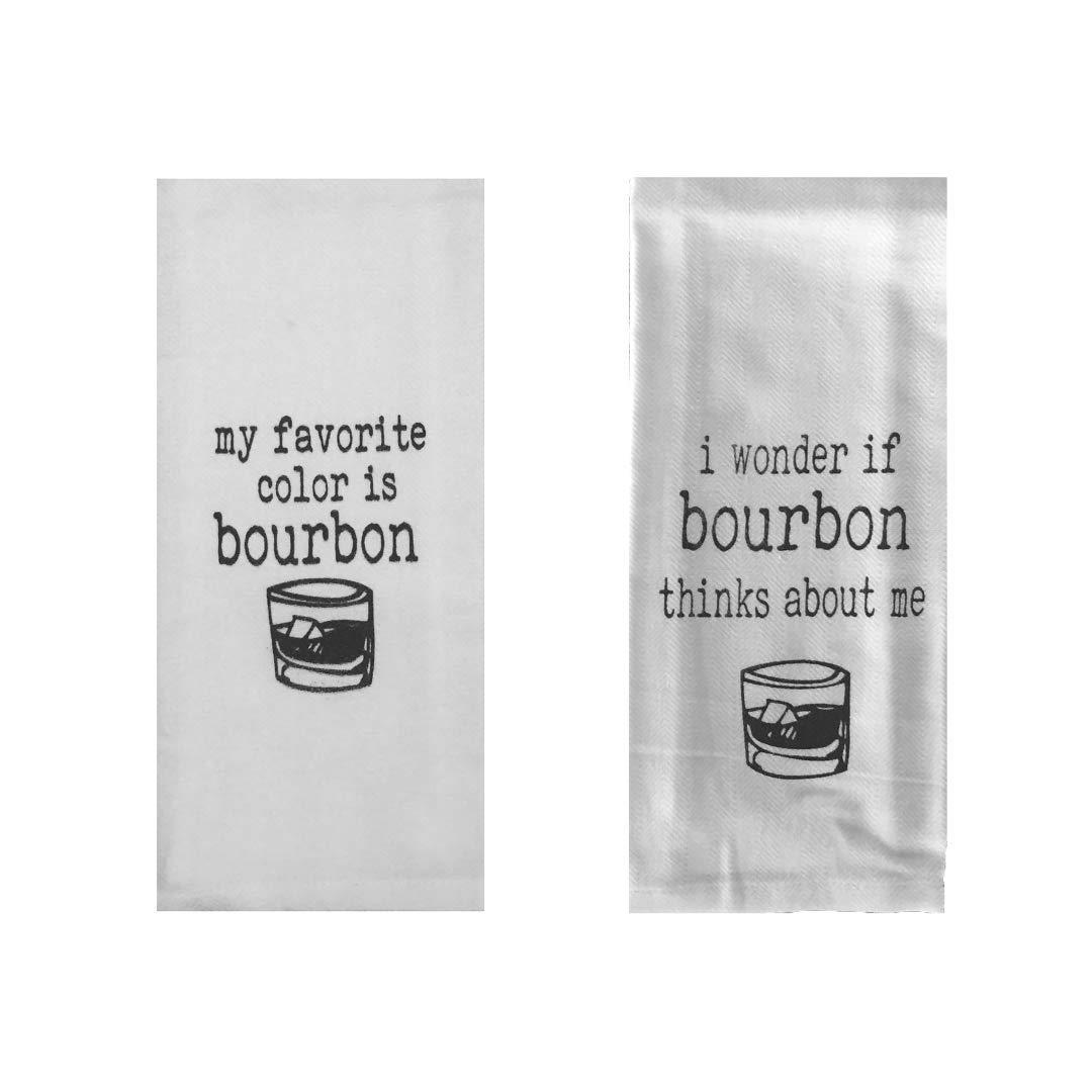 Bourbon Tea Towels Set of 2 My Favorite Color is Bourbon /& I Wonder If Bourbon Thinks About Me