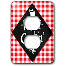 3dRose Doreen Erhardt Foodies - Home Cookin Fun Chef Chalkboard Themed Typography with Red Checks - Light Switch Covers - 2 plug outlet cover (lsp_264292_6)