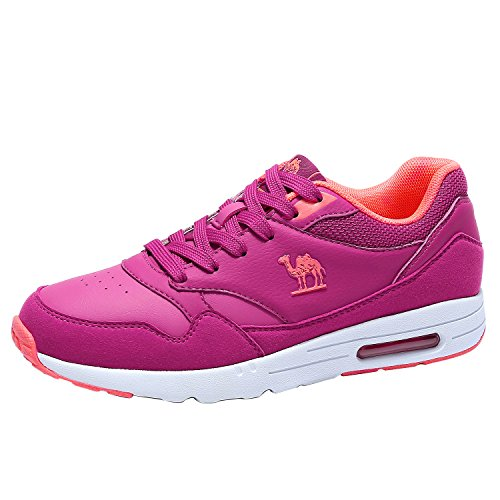 Camel Women Cushioned Running Shoes, Lightweight Fashion Casual Leather Sneakers for Sport Tennis Gym Walking Size - Athletic Leather Shoes Pink