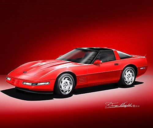 1990-1996 CORVETTE COUPE BRIGHT RED - ART PRINT POSTER BY ARTIST DANNY WHITFIELD - SIZE 24 X 36