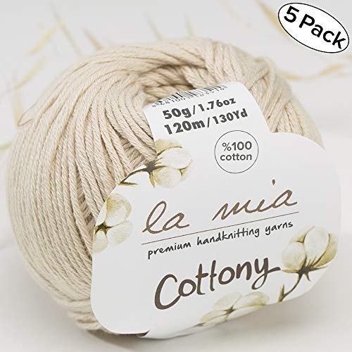 - 5 Ball%100 Cotton Total 8.8 Oz. La Mia Cottony Each 1.76 Oz (50g) / 130 Yrds (120m) Super Soft, Dk Light Baby Yarn, Cream - P2