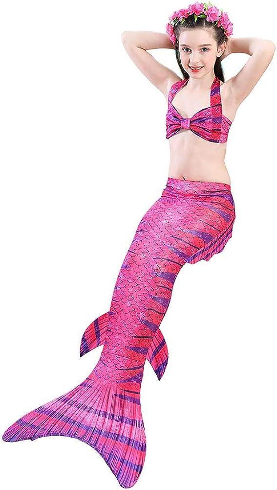Kids Girls Mermaid Tail Swimmable 3 Pcs Mermaid Bikini Swimming Costume Swimsuits with Flower Headband