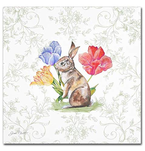 Cypress Home Bunnies in the Tulips by Jean Plout Cocktail Beverage Paper Napkins, 40 ct
