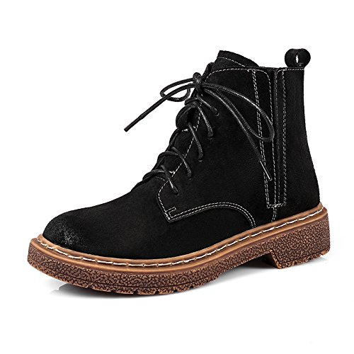 KHSKX-Los nuevos zapatos mujer zapatos de invierno mujer algodón plano y Martin botas botas estilo británico todo partido imitacion botas de cuero. black