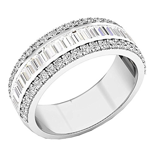 Dazzlingrock Collection 1.60 Carat (ctw) 14K Round & Baguette Diamond Mens Anniversary Wedding Band, White Gold, Size 8 ()