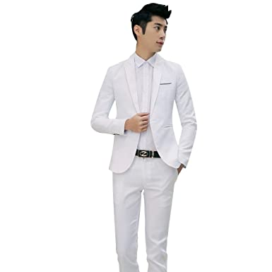 cf697207b9d599 Costume Homme Slim Fit Ensemble Veste + Pantalon 2Pcs Set Couleur ...