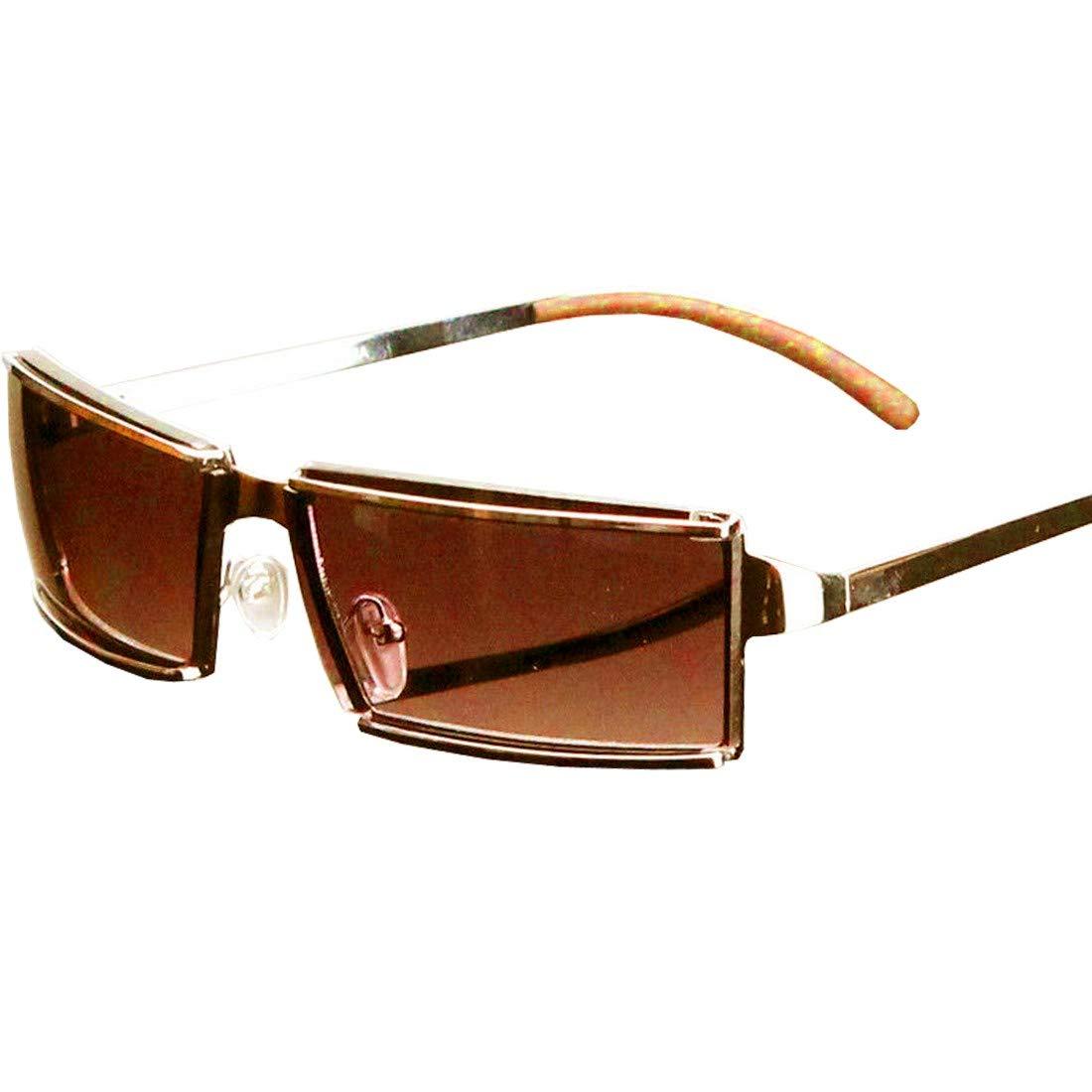 Men Women Rectangular Designer Sunglasses Wrap Around Fashion Gold Brown Retro