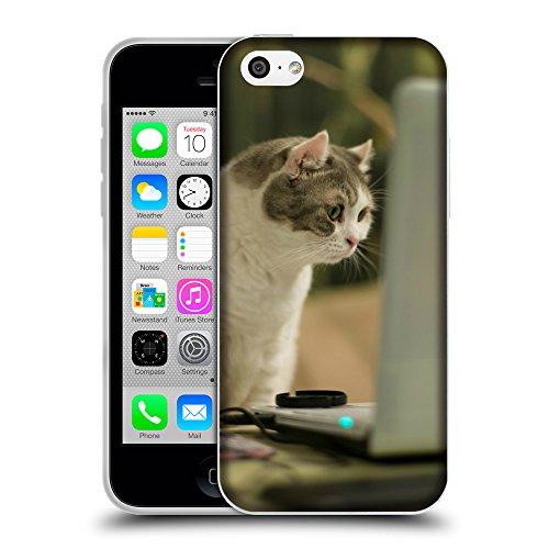Just Phone Cases Coque de Protection TPU Silicone Case pour // V00004202 Chat regardant l'écran d'ordinateur // Apple iPhone 5C