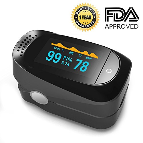 Pulse Oximeter Fingertip Blood Oxygen Saturation Monitor SpO2 Sensor Meter with Alarm Beep Rotating OLED Display