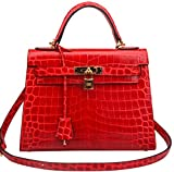 Ainifeel Women's Padlock Crocodile Embossed Patent Leather Shoulder Handbags (28cm, Red)