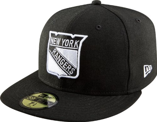 NHL New York Rangers Basic Black and White 59Fifty Cap, Black/White, 7 1/8 ()