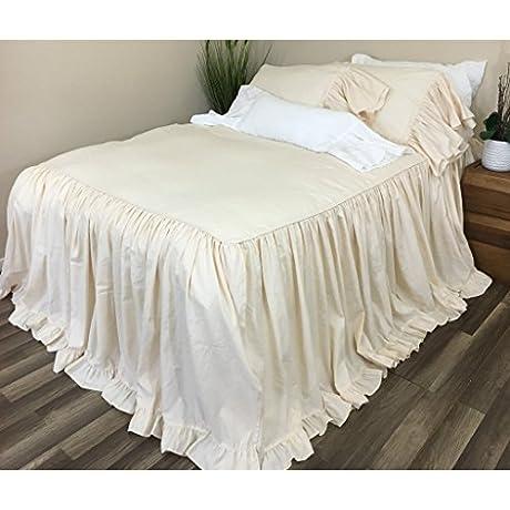 Sundress Cream Linen Bedspread With Cinderella Ruffle Hem Effortless Luxe