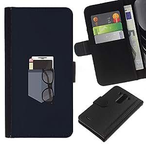 KLONGSHOP // Tirón de la caja Cartera de cuero con ranuras para tarjetas - BOLSILLO MINIMALISTA - LG G3 //