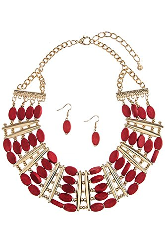TRENDY FASHION JEWELRY MIXED WOODEN BEAD BIB NECKLACE SET BY FASHION DESTINATION   (Red) (Custom Costume Hip Hop Jewelry)