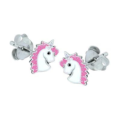 Sterling Silver Unicorn Earrings - Purple Glitter wUvK0