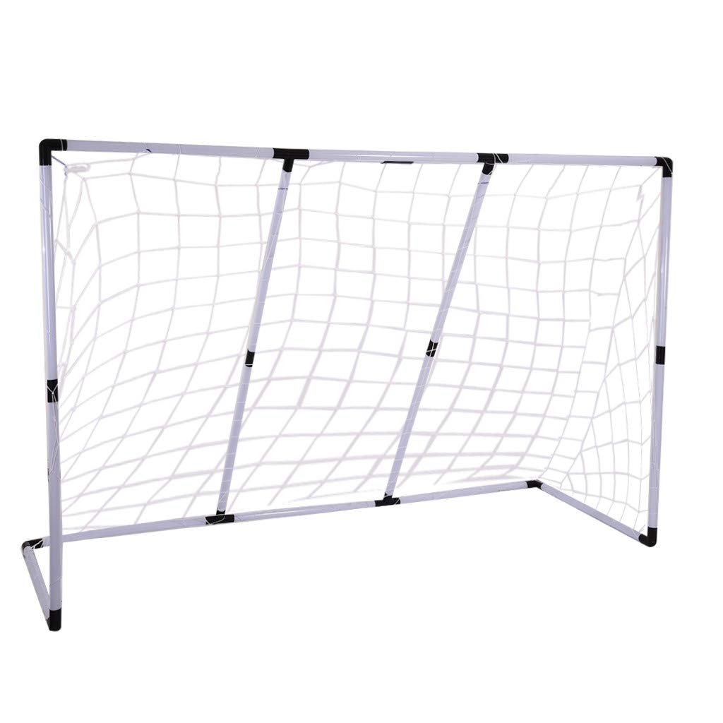 Fine 2-in-1 Assembly Soccer Goal, Portable Folding Kids Sports Football Door Set Football Gate with Soccer Ball and Pump Practice Scrimmage Game (AS Shown) by Fine