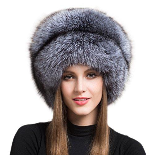 Genuine Fox Fur Hat Winter Women Warm Mongolian Hat with Tail (Silver)