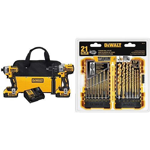 DEWALT 20V MAX XR Brushless Impact Driver and Hammer Drill Combo Kit, Premium 4.0Ah DCK299M2 with DEWALT DW1361 Titanium Pilot Point Drill Bit Set, 21-Piece