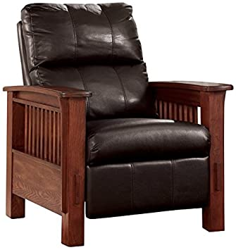 Amazon.com Ashley Furniture Signature Design - Santa Fe Recliner - Manual Reclining Chair - Chocolate Brown Kitchen u0026 Dining  sc 1 st  Amazon.com : wooden recliner chairs - Cheerinfomania.Com