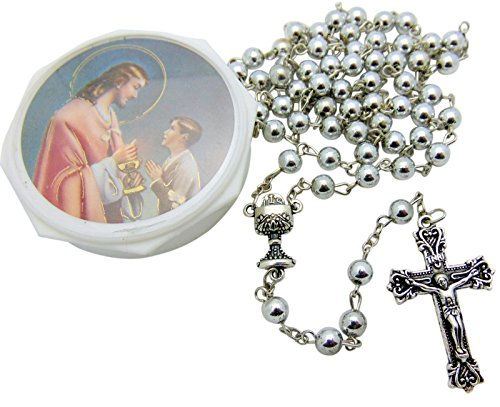 Boys' First Holy Communion Metallic Bead Rosary with Gift Case Box