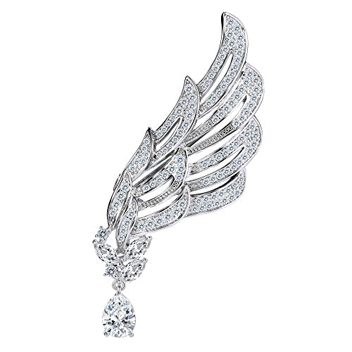 Brilliant Cut White Brooch (BriLove Women's Wedding Bridal Cubic Zirconia Angel Wing Teardrop Brooch Pin Clear Silver-Tone)