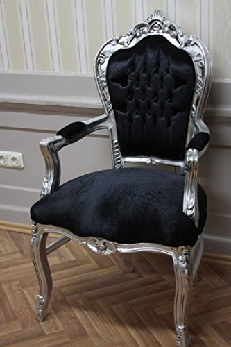 LouisXV Sillón barroco, plata, terciopelo negro: Amazon.es ...