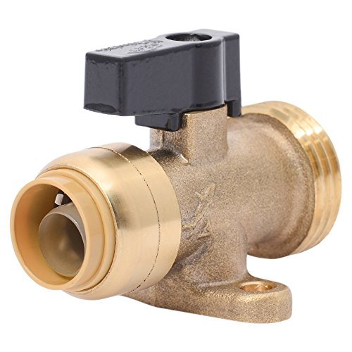 Sharkbite 25559LFA Washing Machine Straight Valve, 1/2 inch x 3/4 inch MHT Garden Hose Valve, Push-to-connect Copper, PEX, CPVC, PE-RT Pipe