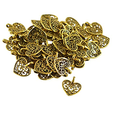 Dovewill 50 Pieces Hollow Out Love Heart Pendant Charms for Necklace Keyring Bag Jewelry Making Findings DIY - Heart Charm Jewelry Finding