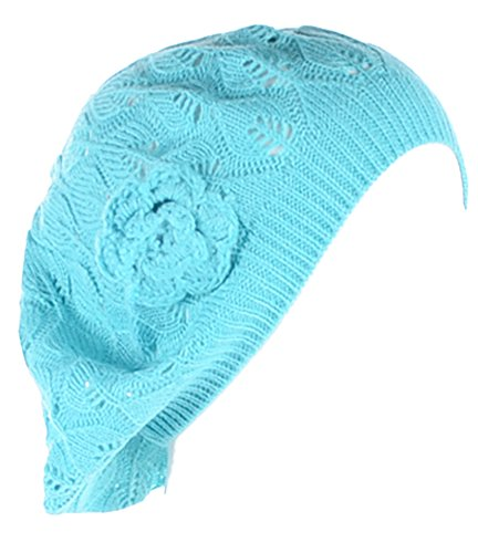 Blue Crochet Flower (BYOS Chic Parisian Style Lightweight Crochet Beret Beanie Hat With Flower Adornment , More Styles (Aqua Leafy))