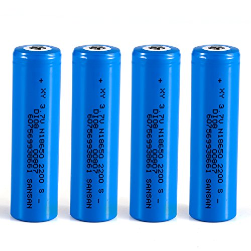 SANSAN 18650 Li-ion Lithium Battery Rechargeable Batteries, 2200 mAh, 3.7V, 4 Piece