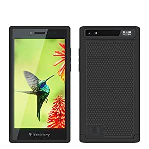 Blackberry Z20 Leap Rugged Impact Heavy Duty Dual Layer Shock Proof Case Cover Skin - Black