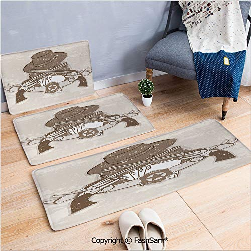 3 Piece Fashion Flannel Door Mat Carpet Grunge Retro Composition with Pistols Belt Hat and Playing Cards Criminal Gambler for Door Rugs Living Room(W15.7xL23.6 by W19.6xL31.5 by W17.7xL53)