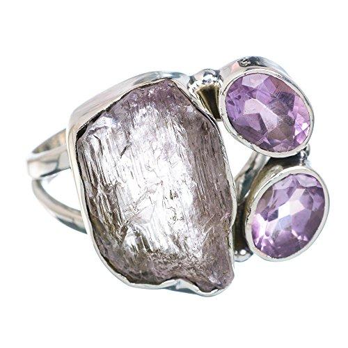 Rough Kunzite, Amethyst Ring Size 7.25 (925 Sterling Silver) - Handmade Jewelry (Amethyst Kunzite Ring)